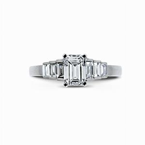 Emerald Cut Engagement Ring With Step Down Baguette Cut Shoulders 0.50ct FVVS1 BGI